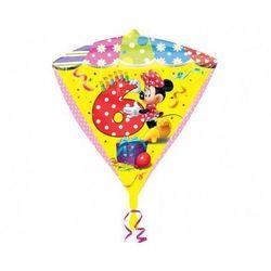 Balon foliowy Diamentowy Myszka Minnie na 6 urodziny - 38x43 cm
