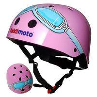 Kaski ochronne dla dzieci, kiddimoto® HelmKask ochronny Design Sport, Pink Goggle/Pilot różowy- rozm. M, 53-58cm