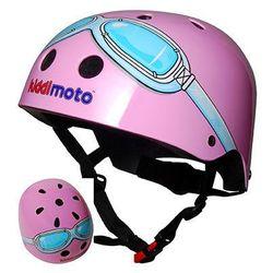 kiddimoto® HelmKask ochronny Design Sport, Pink Goggle/Pilot różowy- rozm. M, 53-58cm