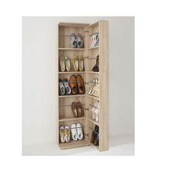 Szafka na buty WALKER - 1 szafka z drzwiczkami, 1 lustro - Dąb
