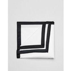ASOS DESIGN pocket square in white with contrast border - White