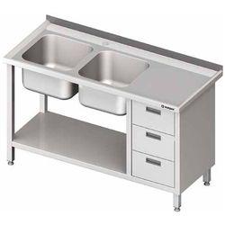 Stół ze zlewem dwukomorowym z lewej strony z szafką i półką 1700x700x850 mm | STALGAST, 981067170
