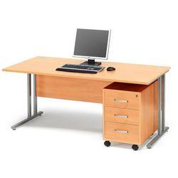 Zestaw mebli biurowych FLEXUS, biurko 1600x800 mm, kontenerek z 3 szufladami, buk