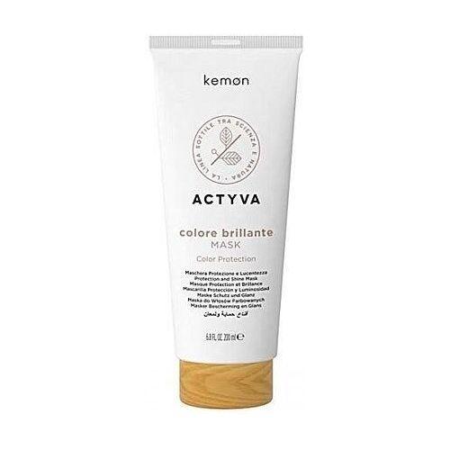 Odżywianie włosów, Kemon ACTYVA Colore Brillante, maska do włosów farbowanych 200ml