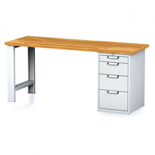 Stoły warsztatowe, Stół warsztatowy MECHANIC, 2000x700x880 mm, nogi regulowane, 1x szufladowy kontener, 4 szuflady, szary/szary