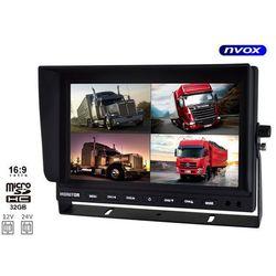"""NVOX HM950DVR QUAD Monitor samochodowy LCD 9"""" z obsługą 4 kamer i funkcją DVR rejestratora 12V 24V"""