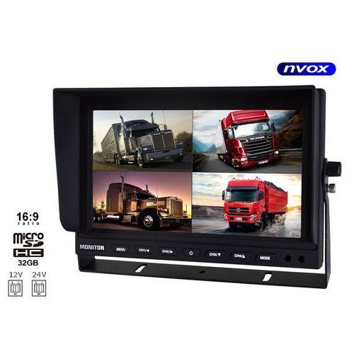 "Monitory samochodowe, NVOX HM950DVR QUAD Monitor samochodowy LCD 9"" z obsługą 4 kamer i funkcją DVR rejestratora 12V 24V"
