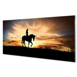 Panel Szklany Kobieta na jednorożcu zachód słońca