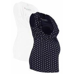 Top ciążowy i do karmienia piersią (2 szt.) bonprix ciemnoniebiesko-biały w kropki + biały