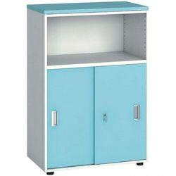 Szafa biurowa kombinowana, przesuwne drzwi, 1087 x 800 x 420 mm, biały/turkusowy