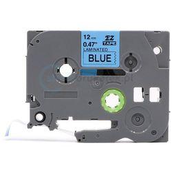 Taśma do brother tze-535 niebieskie/biały nadruk 12mm x 8m zamiennik