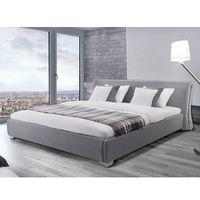 Łóżka, Nowoczesne łóżko tapicerowane ze stelażem 160x200 cm - PARIS szare