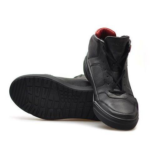 Kozaki męskie, Trzewiki Badura 4592-F Czarne lico