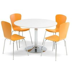 Zestaw do stołówki, stół Ø1100 mm, biały, chrom + 4 pomarańczowe krzesła