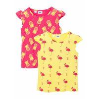 Koszulki z krótkim rękawkiem dziecięce, T-shirt dziewczęcy (2 części) bonprix jasna limonka - różowy hibiskus