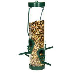 Karmnik dla ptaków na zimę transparentny. Tuba na ziarno dla ptaków.