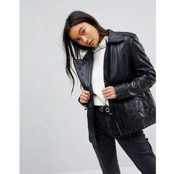 ASOS Leather Biker Jacket with Eyelet Detail - Black