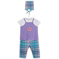 Sukienka niemowlęca + koszulka + legginsy + chustka (4 części), bawełna organiczna bonprix jasny lila w kratę