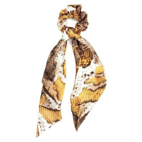 Pozostała biżuteria, Gumka do włosów kokarda apaszka scrunchies żółta