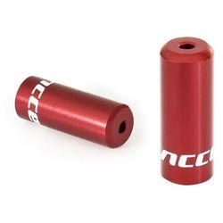 Końcówki pancerza Accent aluminiowe 4 mm, przerzutkowe, 5 szt. czerwone