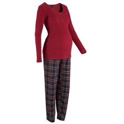 Piżama dla ciężarnych i karmiących bonprix czerwony w kratę