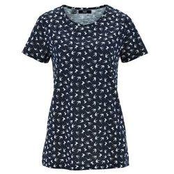 Shirt z przędzy mieszankowej, krótki rękaw bonprix ciemnoniebieski z nadrukiem