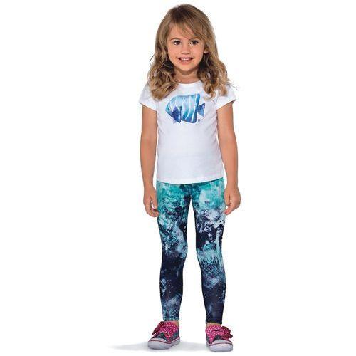 Legginsy dziecięce, Dziecięce legginsy BAS BLEU Pati kolorowa grafika, Niebiesko-turkusowy, 104-110 cm