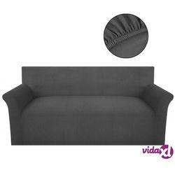 vidaXL Elastyczny pokrowiec na kanapę, prążkowany, szary Darmowa wysyłka i zwroty