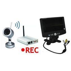 Kamera Zewnętrzna Bezprzewodowa (dz.-nocna) + 4-Kanał. Odbiornik do 250m. + Nagrywający Monitor 7''.