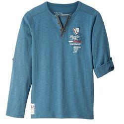 Shirt z długim rękawem bonprix niebieski dżins z nadrukiem