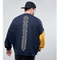 ASOS PLUS Oversized Sweatshirt With Contrast Sleeve & Back Print - Navy