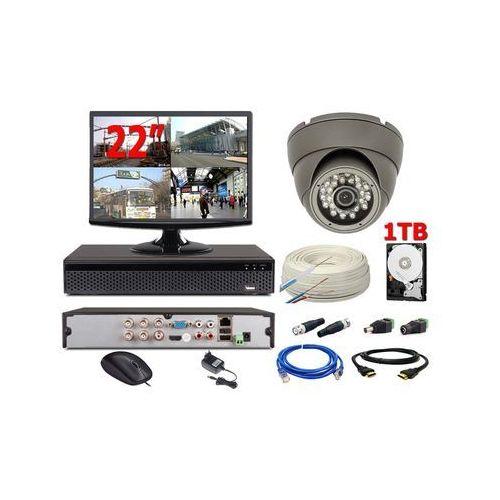 "Zestawy monitoringowe, Zestaw monitoring 1 kamera HD + 1TB HDD + Zasilanie + Akcesoria + Przewód + Monitor 22"""