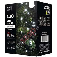 Ozdoby świąteczne, Lampki choinkowe 120 LED 12m CW, timer ZY0803T