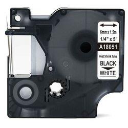 Rurka termokurczliwa DYMO Rhino 18051 6mm x 1.5m ø 1.2mm-2.3mm biała czarny nadruk S0718260 - zamiennik | OSZCZĘDZAJ DO 80% - Z