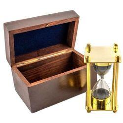 Mosiężna klepsydra - SQUARE - STR61 w pudełku drewnianym, ok. 3 minuty
