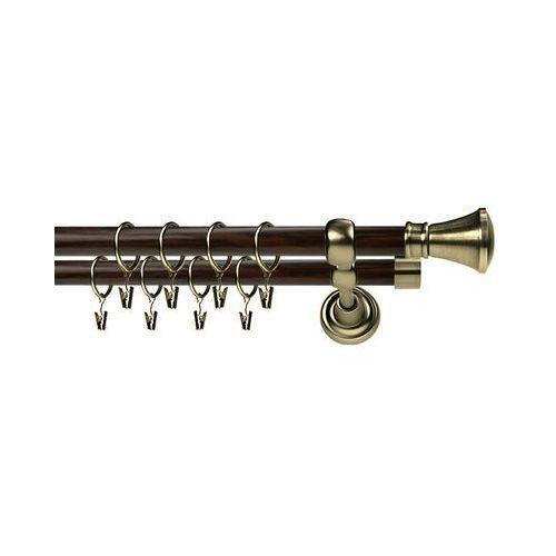 Karnisze, Karnisz Metalowy Prestige podwójny 25/19mm Liberty Antyk mosiądz - wenge