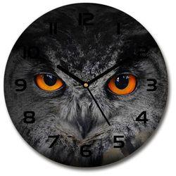 Zegar szklany Diabelskie oczy sowy 30x30 Diabelskie oczy sowy