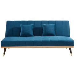 Rozkładana 3-osobowa sofa klik-klak z weluru KERBI - Kolor niebieski