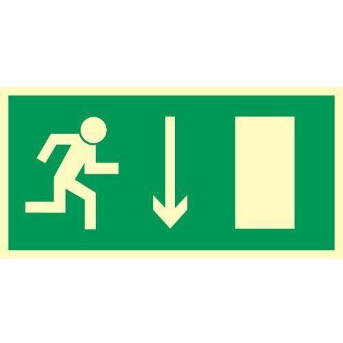 Oznakowanie informacyjne i ostrzegawcze, Znak Kierunek ewakuacji do wyjścia strz. w dół
