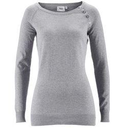 Sweter z plisą guzikową bonprix jasnoszary melanż