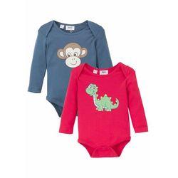 Body niemowlęce z długim rękawem (2 szt.), bawełna organiczna bonprix indygo + czerwień granatu