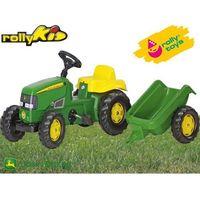 Traktory dla dzieci, Rolly Toys Traktor Kid John Deere z Przyczepą