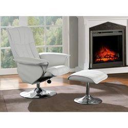 Fotel wypoczynkowy ze skóry regenerowanej z podnóżkiem MIMOSA - Biały