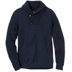 Sweter z szalowym kołnierzem Regular Fit, z bawełny z recyklingu bonprix ciemnoniebieski