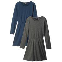 Sukienki dziecięce, Sukienka z długim rękawem (2 szt.) bonprix szary melanż + ciemnoniebieski
