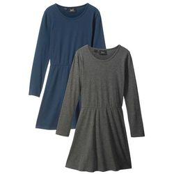 Sukienka z długim rękawem (2 szt.) bonprix szary melanż + ciemnoniebieski