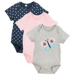 Body niemowlęce z krótkim rękawem (3 szt.) bonprix różowy kwarcowy + ciemnoniebieski