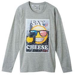 Shirt z długim rękawem i motywem EMOJI z obracanych cekinów bonprix jasnoszary melanż
