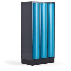 Metalowa szafa ubraniowa CURVE, na cokole, 3x1 drzwi, 1890x900x550 mm, niebieski