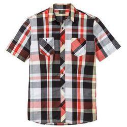 Koszula w kratę z krótkim rękawem bonprix głęboki pomarańczowy - czarny w kratę